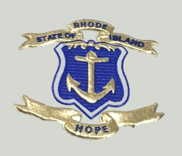 Blue and gold embossed RI State Seal