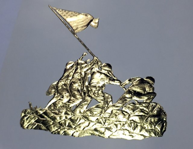 Combination gold embossed Iwo Jima flag raising