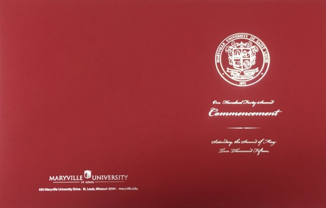 Silver stamped commencement cover