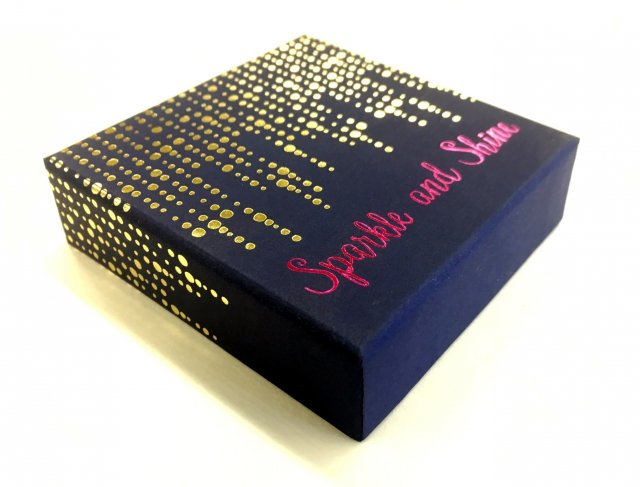 Magenta and gold stamped box lid wrap